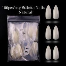 100 шт./кор. гроб ногти балерины на плоской подошве Форма полное покрытие акриловое волокно накладные ногти: белый/прозрачный/натуральный дли...(Китай)