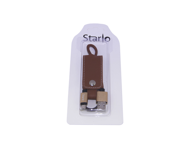 PU Leather Micro USB Lighting Data Cable Key Chain Holder with Blister Packing