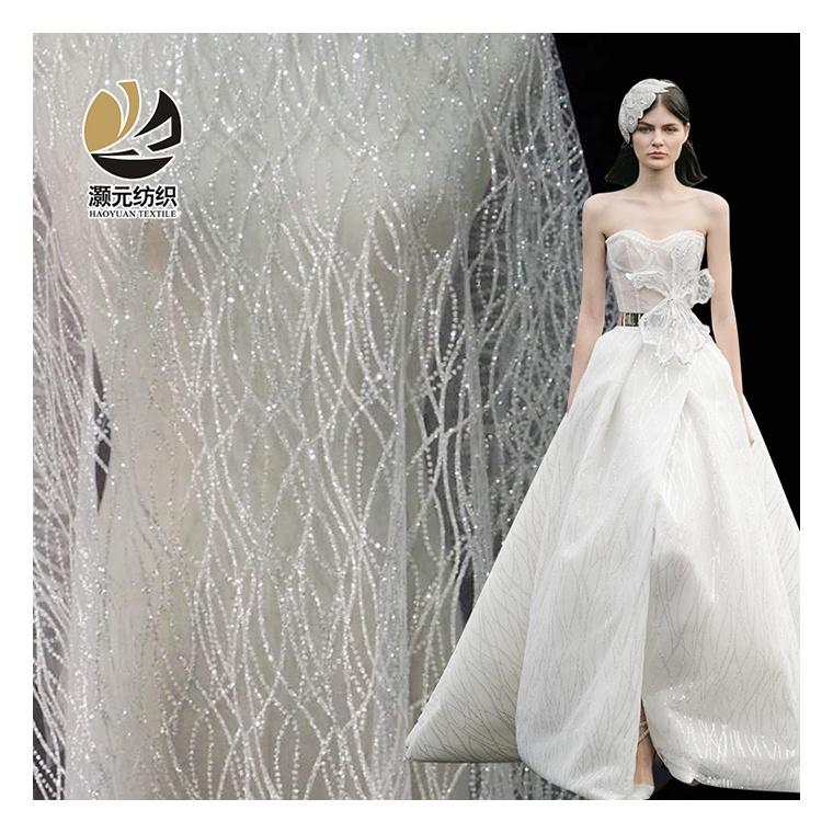 Thanh Lịch Pháp Sequins Kim Bạc Glitter Tulle Vải Lưới Cho Váy Cưới