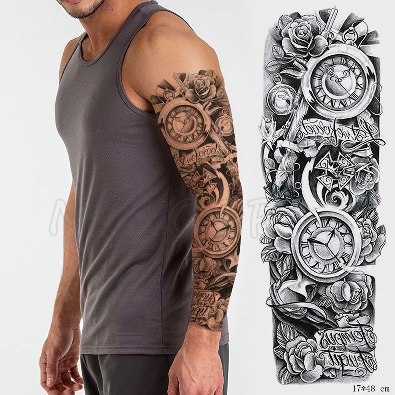 Full Arm Waterproof Temporary Tattoo Sticker Armor Totem Clock