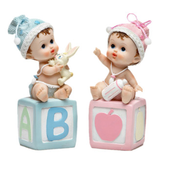 Baby Boys and Girls Resin Figurine Favors for baptism birth baby shower first