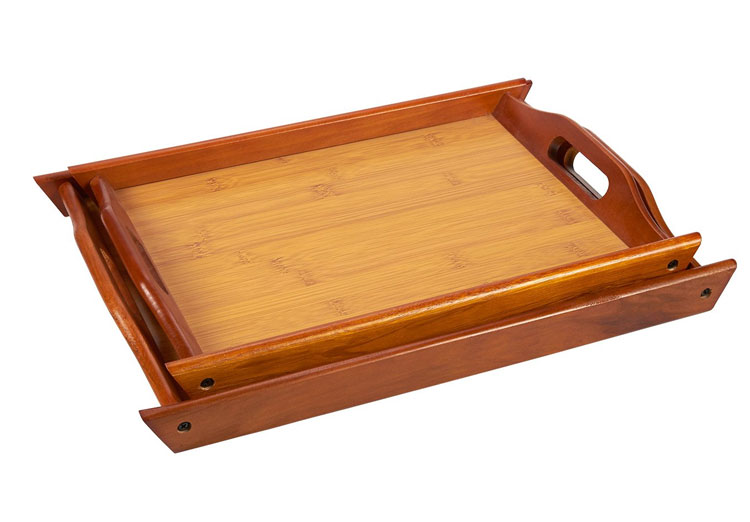 Large and Small Wood Brown Serving Tray With Handles