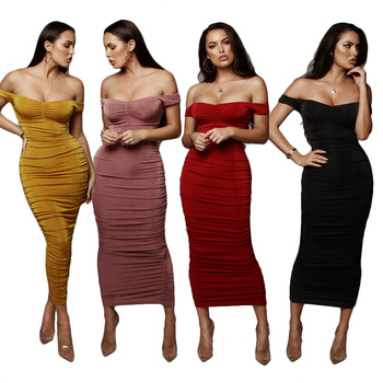 Wine Red Off shoulder high quality white women party wear elegant bodycon mesh midi dress evening bandage dress