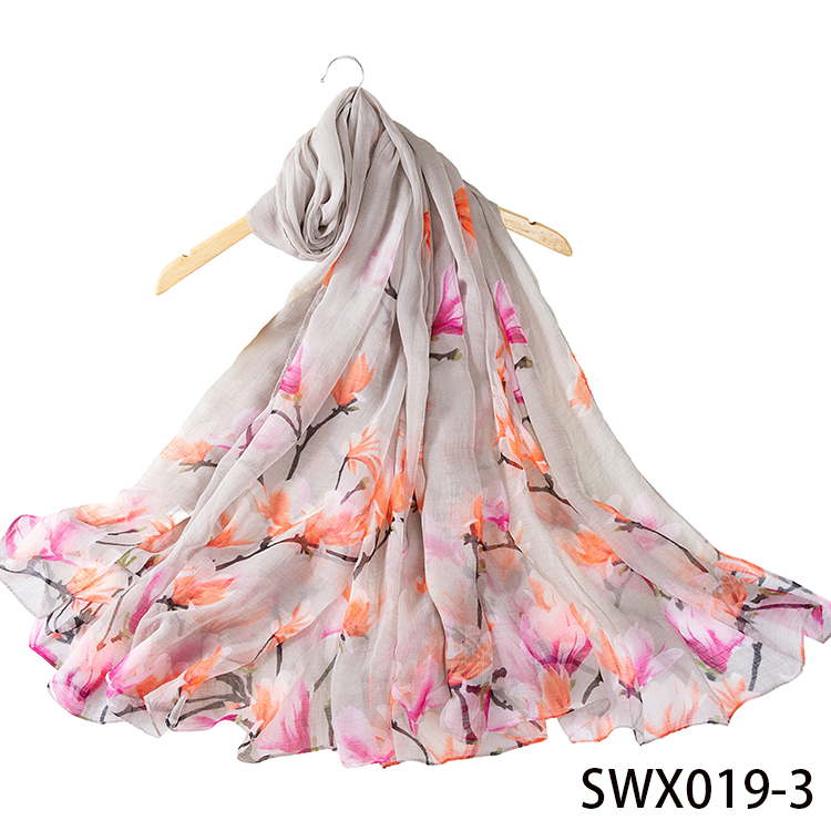 Scarf Factory Soft Silk Feeling Digital Printed Floral Scarves for Women