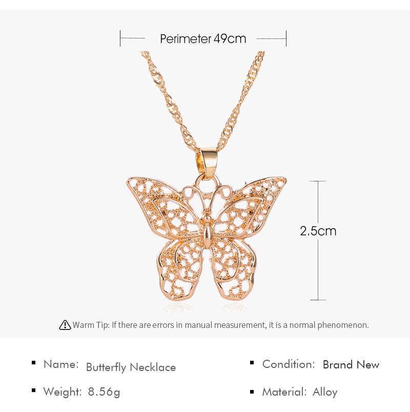 High Quality Chunky Necklace Jewelry Water Wave Chain Gold Butterfly Pendant Necklace Woman