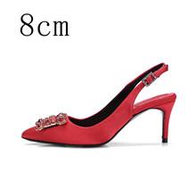 Туфли на высоком каблуке; Женские туфли-лодочки; Женские туфли на каблуке с разноцветными шелковыми стразами; Брендовые модельные туфли; Св...(China)