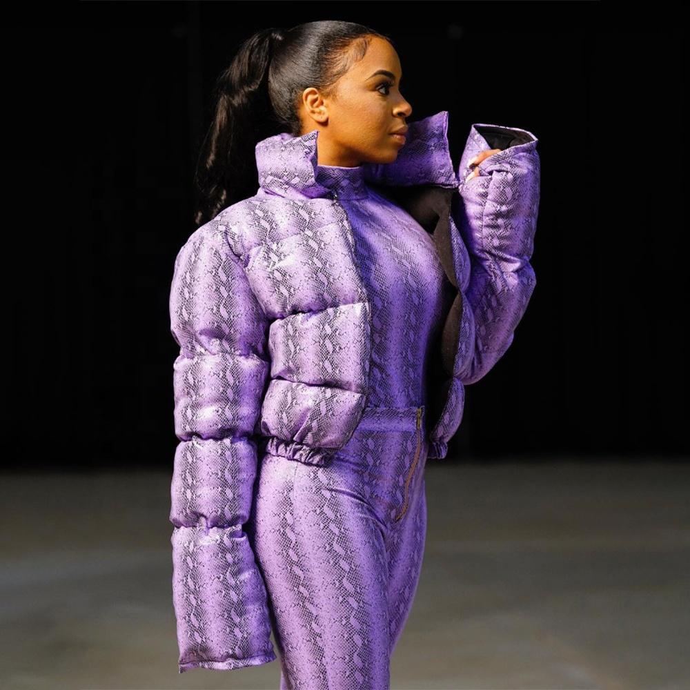 2019 Snakeskin Bubble Jacket Women Winter PVC  Bubble Coat