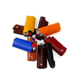 Very popular product various colors custom plain genuine leather lighter cover