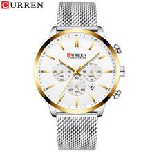 Часы CURREN Мужские, модные, деловые, повседневные, водонепроницаемые, кварцевые, наручные часы из синей стали(Китай)