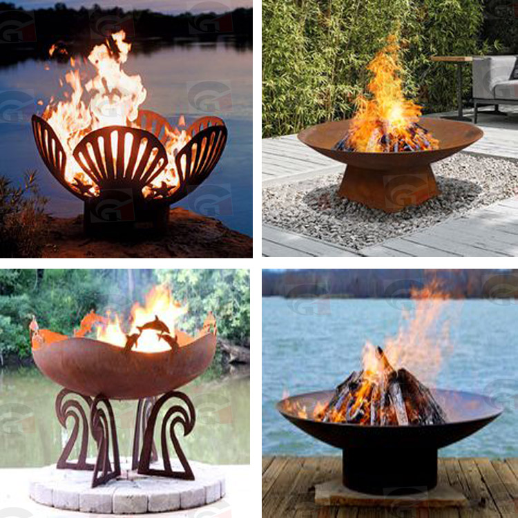 Decorative&Warmth Modern Design Outdoor Art Corten Steel Fire Pit