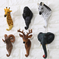 American retro cafe bar shop wall three-dimensional animal wall hanging deer head decorative pothook animal head clothing hook