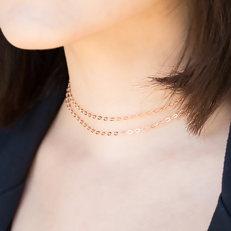 product-BEYALY-14K Gold Chain Corrugated Oval Chain, Sweater Chain O-Necklace 40cm-img