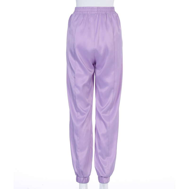 New Summer Satin Cargo Pants Female Europe Loose Casual Sport Women Streetwear Joggers