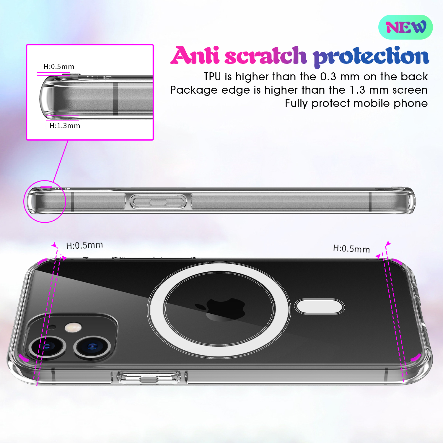 Hot New Arrival For iPhone 12 / 12 Pro Transparent Cover Clear Case for MagSafe