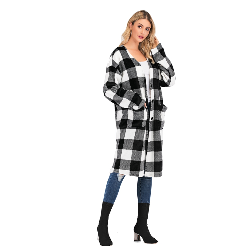 2020 Fashion Winter Female Longsleeves Longline Knee-length Plaid Coat