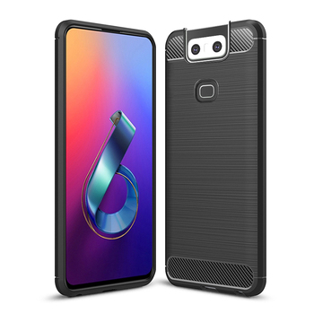 HUYSHE Silicone TPU Carbon Fiber Case for ASUS Zenfone 6 Cover Coque Luxury Shockproof Armor Full Cover for ASUS Zenfone 6 Case