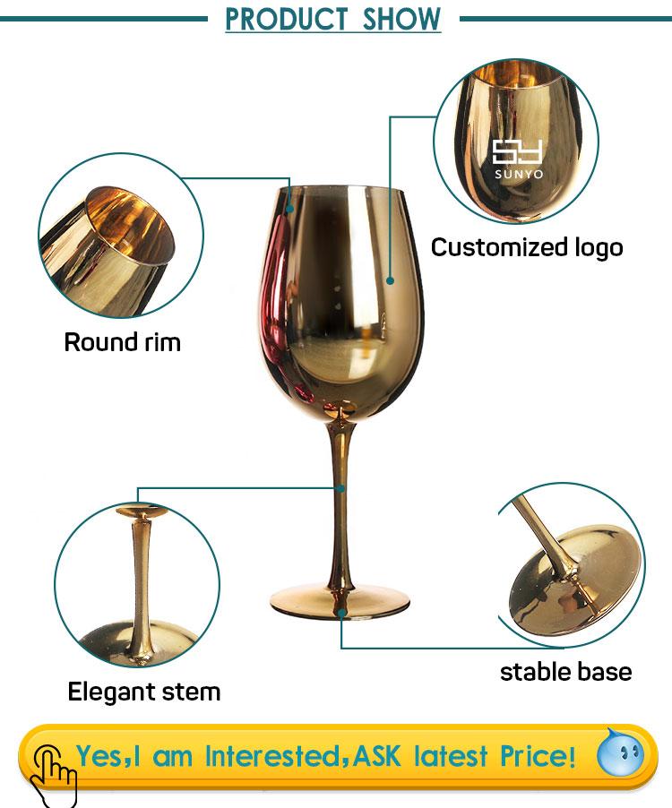 Sunyo Amazon Hotsell Rose Goud Kleur Electroplated Rode Gepersonaliseerde Wijnglas
