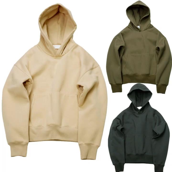 Logo Kustom Hoodie Hip Hop Pria Ukuran Besar Hip Hop Bagus Hoodie dengan Bulu Hangat Hoodie Pria Kanye West Pullover Swag