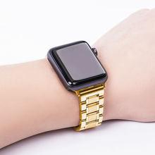 Ремешок для часов из нержавеющей стали с автоматической двойной застежкой, 38 мм, 40 мм, 42 мм, 44 мм, подходит для Apple Watch Series 2, 3, 4, 5, iWatch(Китай)