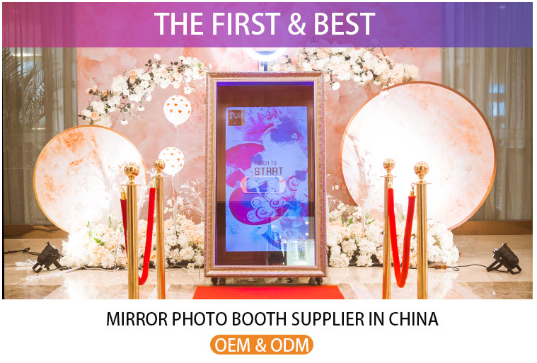 Espejo mágico de cabina de la foto de quiosco automática de impresión instantánea pantalla táctil barato selfie portátil photobooth máquina para Centro Comercial