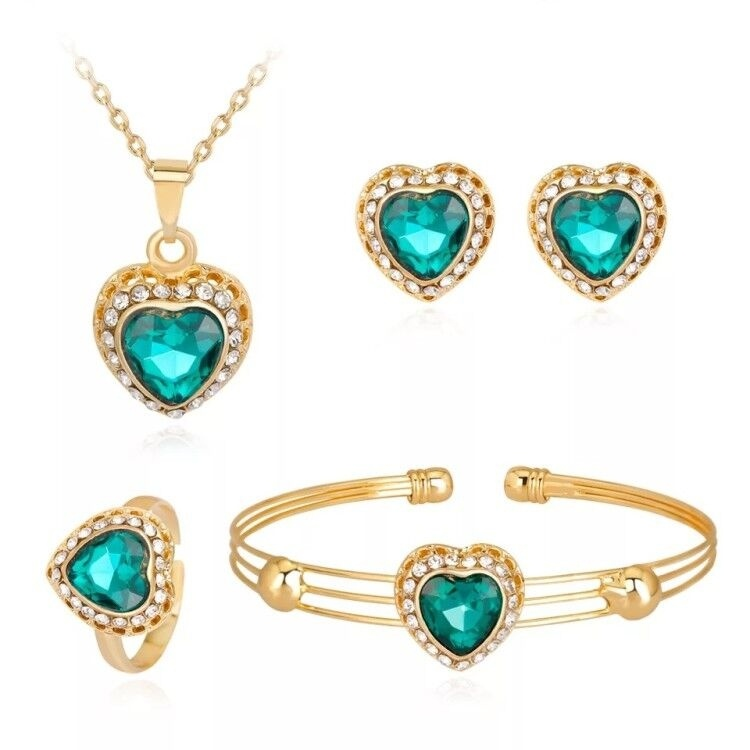 High Quality New Jewelry Set Fashion Inlay Rhinestone Crystal Heart Pendant Necklace Rings Earrings Bangle Set For Charm Women