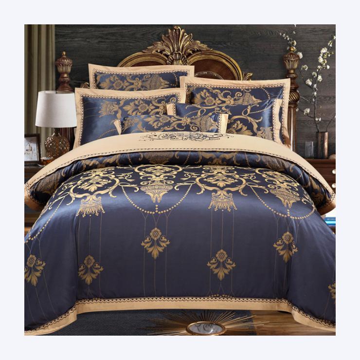 شعور الجلد الفاخرة الزفاف الجاكار بوليقطن حاف الغطاء و غطاء سرير مجموعات الفراش للبيع الساخن