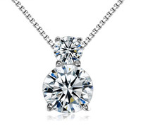 Fashion 925 Sterling Silver Round cubic zirconia Crystal Gemstone necklace Pendant