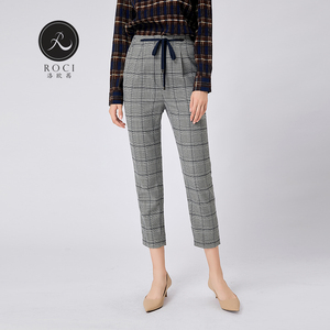 Waist tie straight leg grey gingham trouser Women's Pants