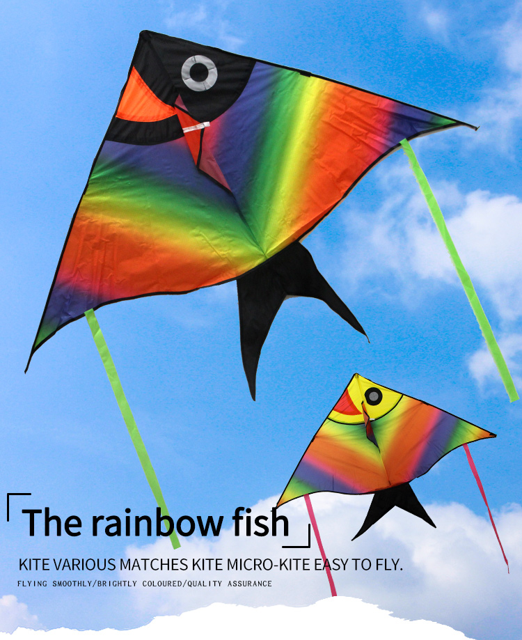 China Alibaba Supplier custom printed easy flying rainbow fish kite for kids