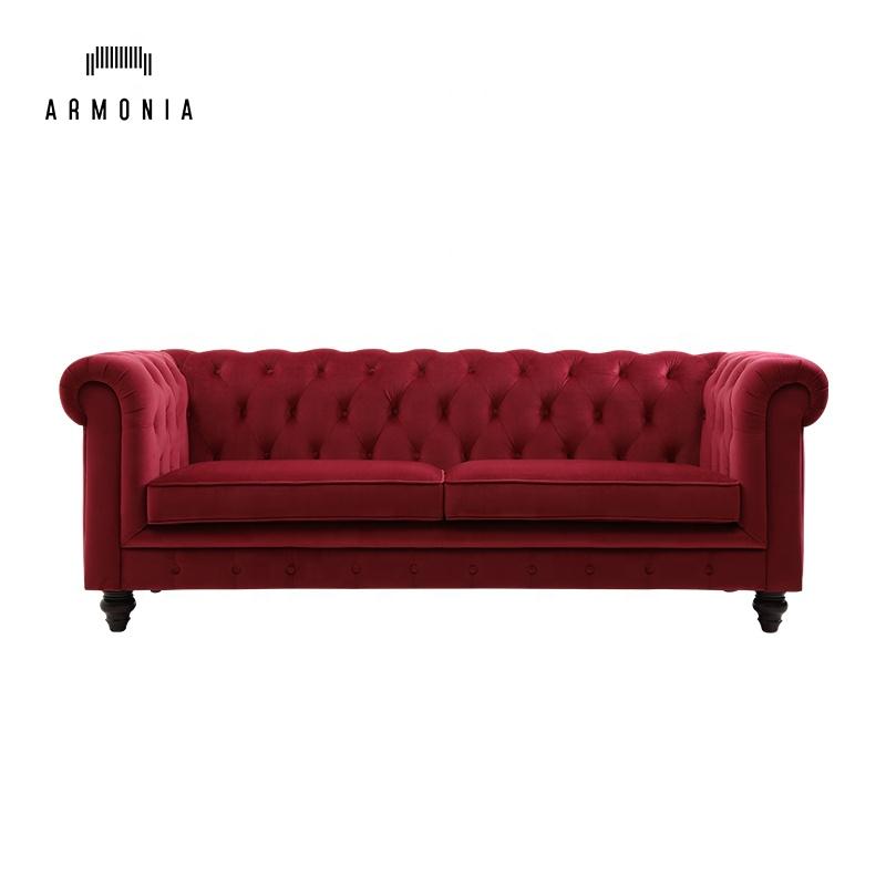 Room 3seater Chester Red Velvet Sofa
