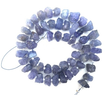 50 Pieces Center Drilled Wonderful Quality Natural Tanzanite Blue Rough Uneven Shape
