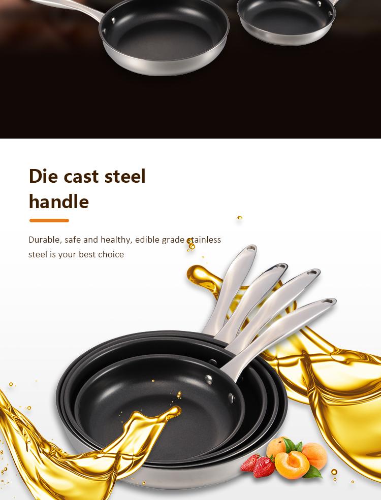 China Gemaakt Rvs Non Stick Koekenpan Tri Ply Materiaal Koekenpan Nonstick Fry Pan