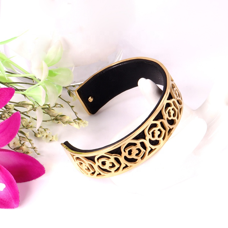 product-BEYALY-Best Price Flower Engraved 18K Gold Bracelets Leather Bangle For Men-img-1