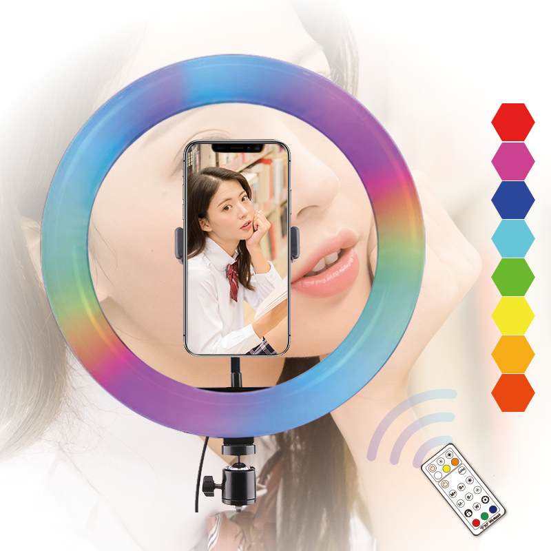 10 inch Ring Light RGB with Tripod Stand Phone Holder Dimmable Selfie Ring Light LED Camera Ringlight for Live Stream