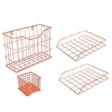 Металлическая проволока 4 в 1 настольный органайзер набор-палочка держатель для заметок, подвесной органайзер для файлов и 2 лотка для букв(Китай)