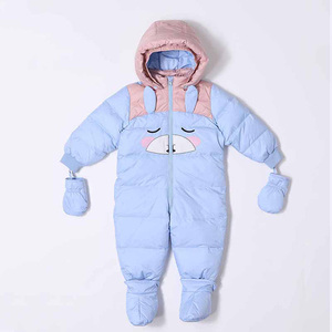 Wholesale British Style Infant Clothing White Down Romper Solid Warm Baby Winter Girls Clothes Jumpsuit
