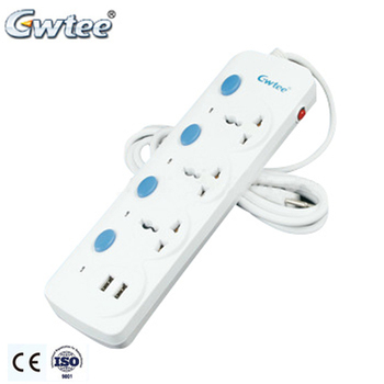 High quality multiple outlets CE universal power strip surge protector extension usb socket