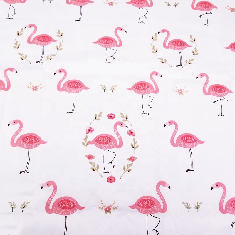 Pink Flamingo 100% Cotton Twill Fabric for Textile Wholesale Materials