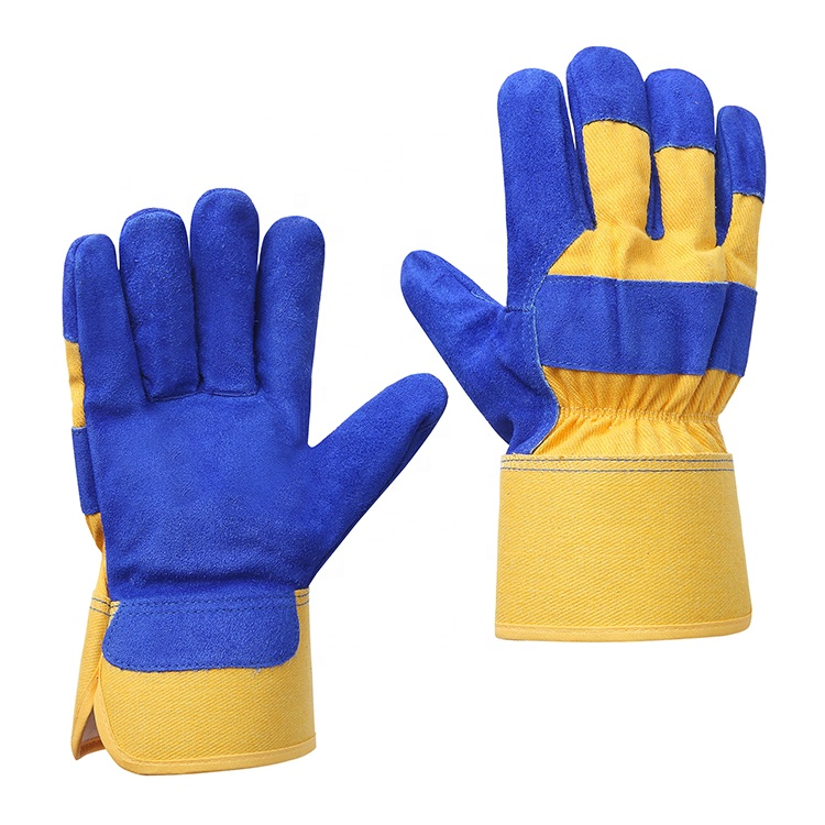 China construction warehouse heavy duty high quality cow split leather anti cut winter working gloves manufacturer