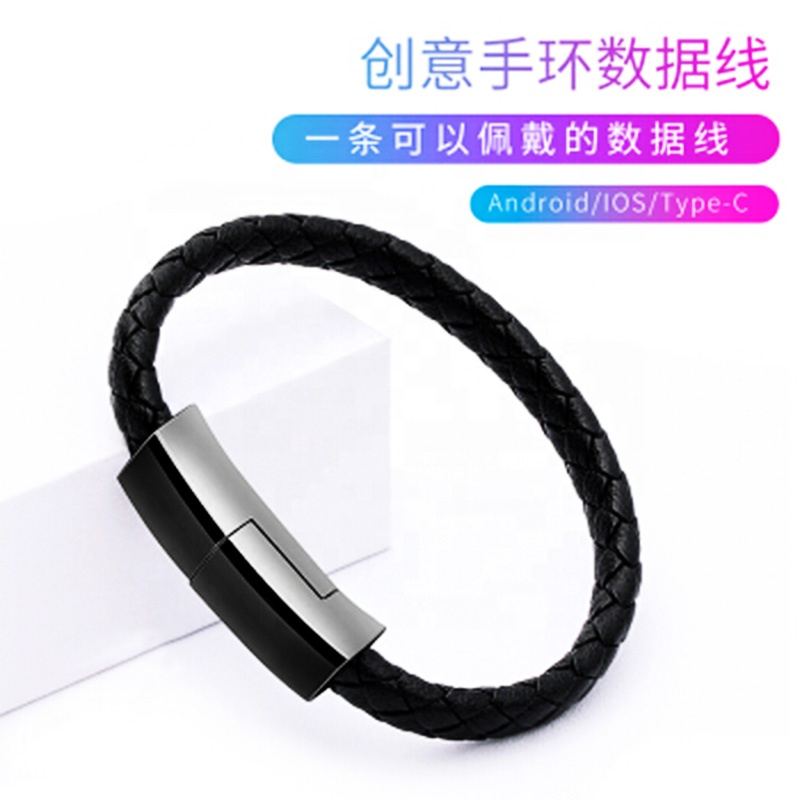 LAIMODA 2020 New Leather Type C Multi Phone Mobile Fast Type-c Bracelet Charger Charging Data Usb Cable For iphone Data Cables