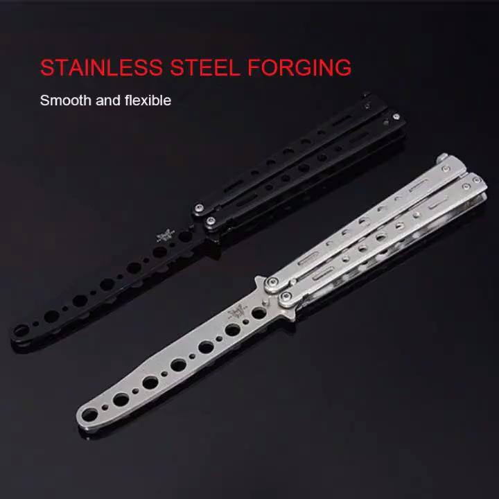 सुस्त ब्लेड तह चाकू अभ्यास स्टेनलेस स्टील आउटडोर खेल सुस्त उपकरण कोई बढ़त गैर-Sharpenning तितली प्रशिक्षण चाकू