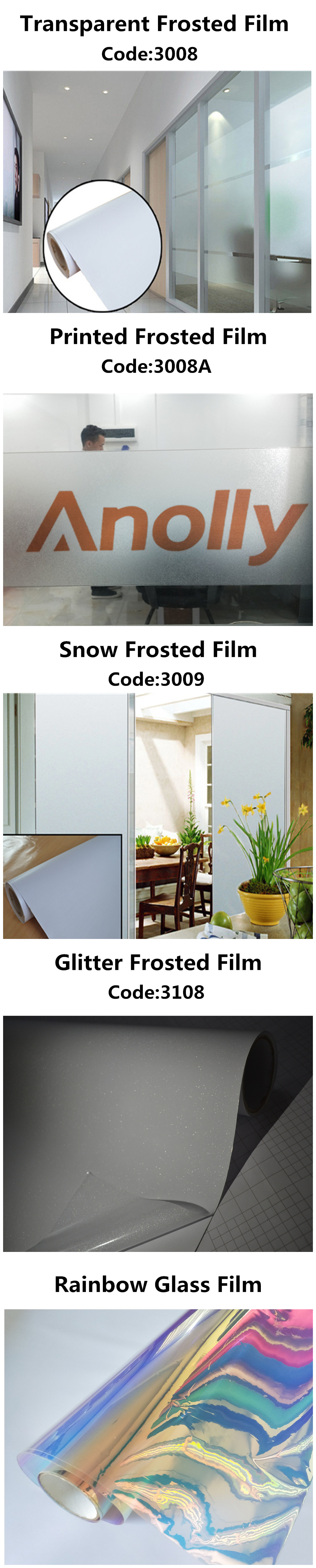 Anolly สำนักงานตกแต่ง Frosted Glass ไวนิลใสฟิล์ม