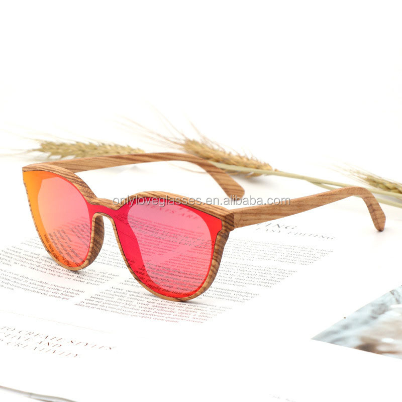 Custom logo one piece lens mirror polarized wood sunglasses wholesale in China