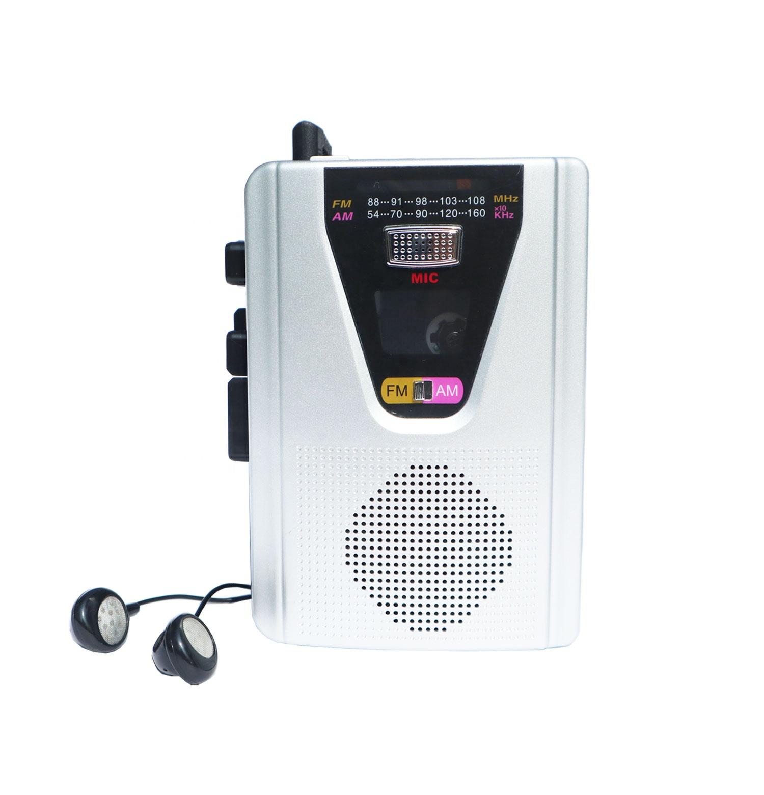 पोर्टेबल ऑडियो कैसेट प्लेयर और कैसेट रिकॉर्डर के साथ AM/एफएम रेडियो