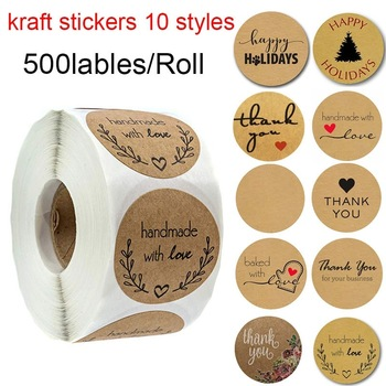 1 Roll of 500pcs Kraft Paper Blank Adhesive Labels Decorative Sealing Stickers