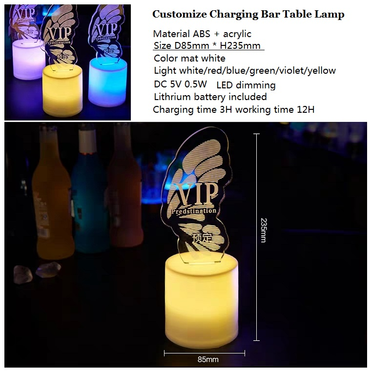 Customize Logo 3D Illusion Advertising VIP Table Lampadari LED Charging Candle Lampen Bar Restaurant Hotel Reservation Lamp
