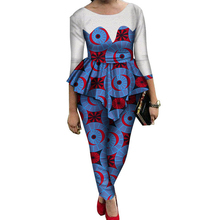 Afrikanische Kleidung Langarm Top und Hosen Traditionelle Print anzüge Kleidung 2 stücke Sets <span class=keywords><strong>Overall</strong></span> WY689