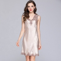 Women Sexy Lingerie Transparent Nighty One Piece Pajamas Satin Silk V-neck Night Gown