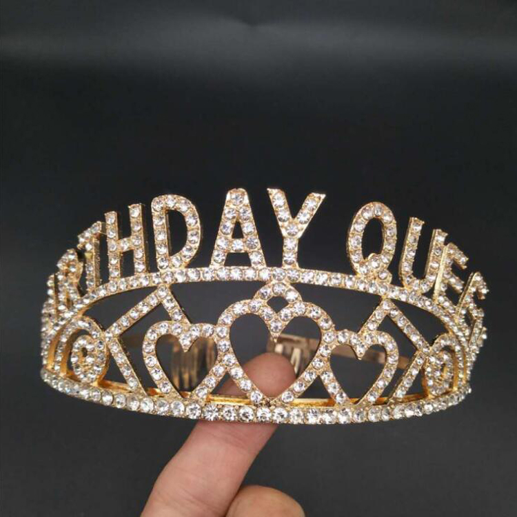 Gold Alloy Rhinestone Girl Birthday Queen <strong>Crown</strong> Tiara for Happy Birthday Party Supplies