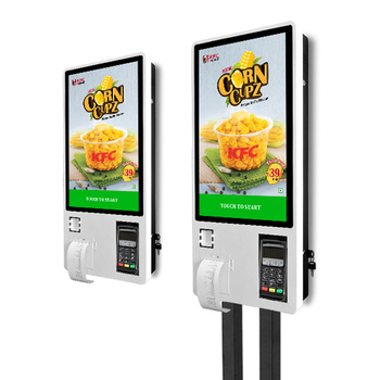 24 inch restaurant food ordering self service payment touch screen kiosk with barcode scanner